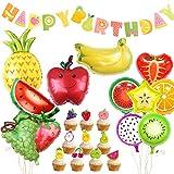 Kit de décorations de fête d'anniversaire de Fruits, Joyeux Anniversaire bannière pastèque Ananas Ballons pour Tutti Frutti Party Supplies