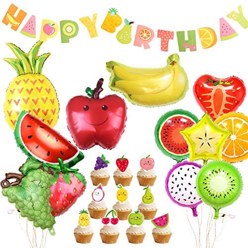 Sursurprise Kit de Decoraciones de Fiesta de cumpleaños de Frutas, Globos de piña de sandía con Pancarta de Feliz cumpleaños para Suministros de Fiesta Tutti Frutti