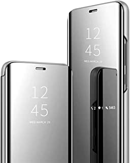 Jacyren iPhone XR XS Max Hülle,Leder Flip Case Spiegel Handyhülle iPhone XS Max Schutzhülle 360°Hard PC Transluzent View M...