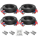 ZOSI 4 Pack 60Feet 18m 4K 8MP 5MP 1080P All-in-One CCTV Video Power Cables, BNC Extension Security Wire Cord for Video Surveillance Camera DVR System With BNC RCA Connector and 100pcs Cable Clips