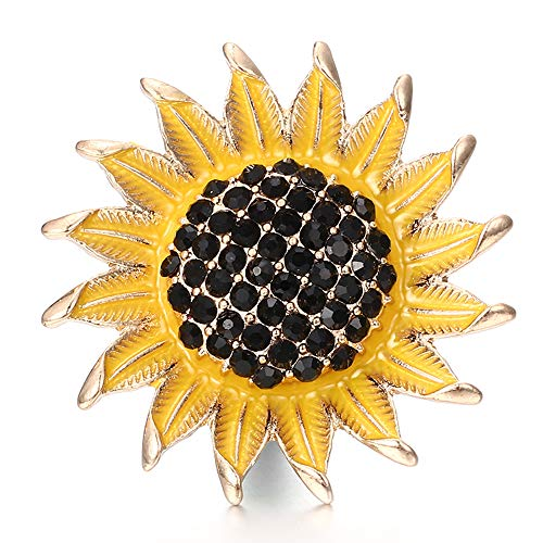 Lovglisten 2pcs Snap Fashion Sun Flower with Crystal Snap Button Jewelry Charms