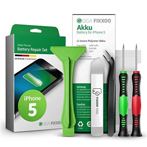 Giga Fixxoo Kit Batteria Ricambio- Compatibile con iPhone 5 - Set Riparazione Cellulari con Batteria Originale agli Ioni di Litio, Strumenti, Cacciavite, Adesivi, Guida alle Istruzioni, Ventosa