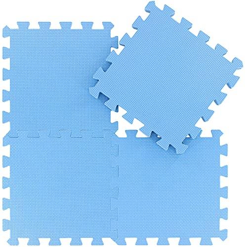 Alfombra Puzzle para Niños Bebe Infantil - Suelo de Goma EVA Suave. 25 Piezas (30 * 30 * 1cm), Azul.QQC-Gb25N