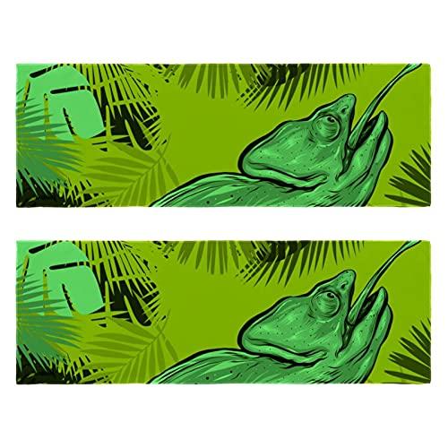 Toalla de microfibra de camaleón en hojas tropicales, de secado rápido, súper absorbente, ligera, apta para viajes, camping, gimnasio, natación, yoga
