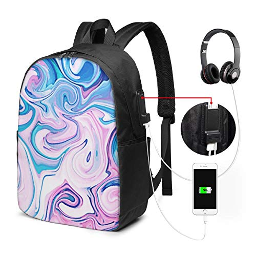 Laptop Rucksack Business Rucksack für 17 Zoll Laptop, Marmorierung Marmorfarbe Splash 165 Schulrucksack Mit USB Port für Arbeit Wandern Reisen Camping, für Herren Damen