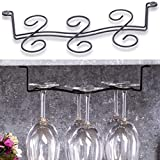 Buytra 2 Pack Under Cabinet Wine Glass Rack Stemware Holder for Home Bar, Holds up to 6 Glasses