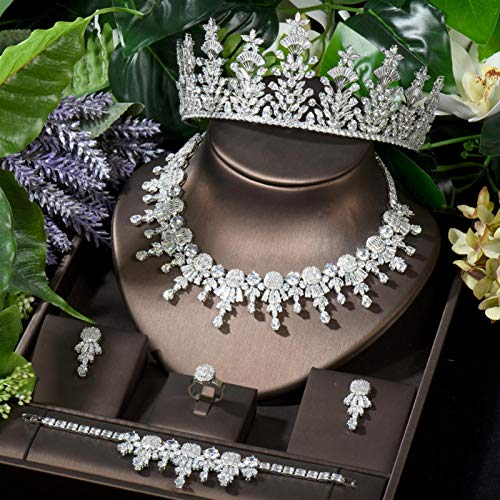 Zyuan Unique CZ Crystal Banquet Prom Necklace Earring African Jewelry Set Charm Leaf Design Bridal Hair Accessories ShanDD (Color : White color)