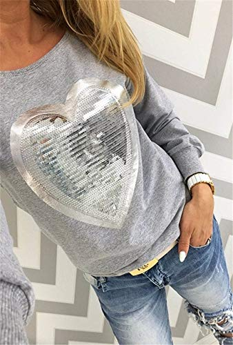 YDMZMS dames-ssweatshirt, met pailletten, lange mouwen, hart, pullover, joggingpak, XXXL grijs