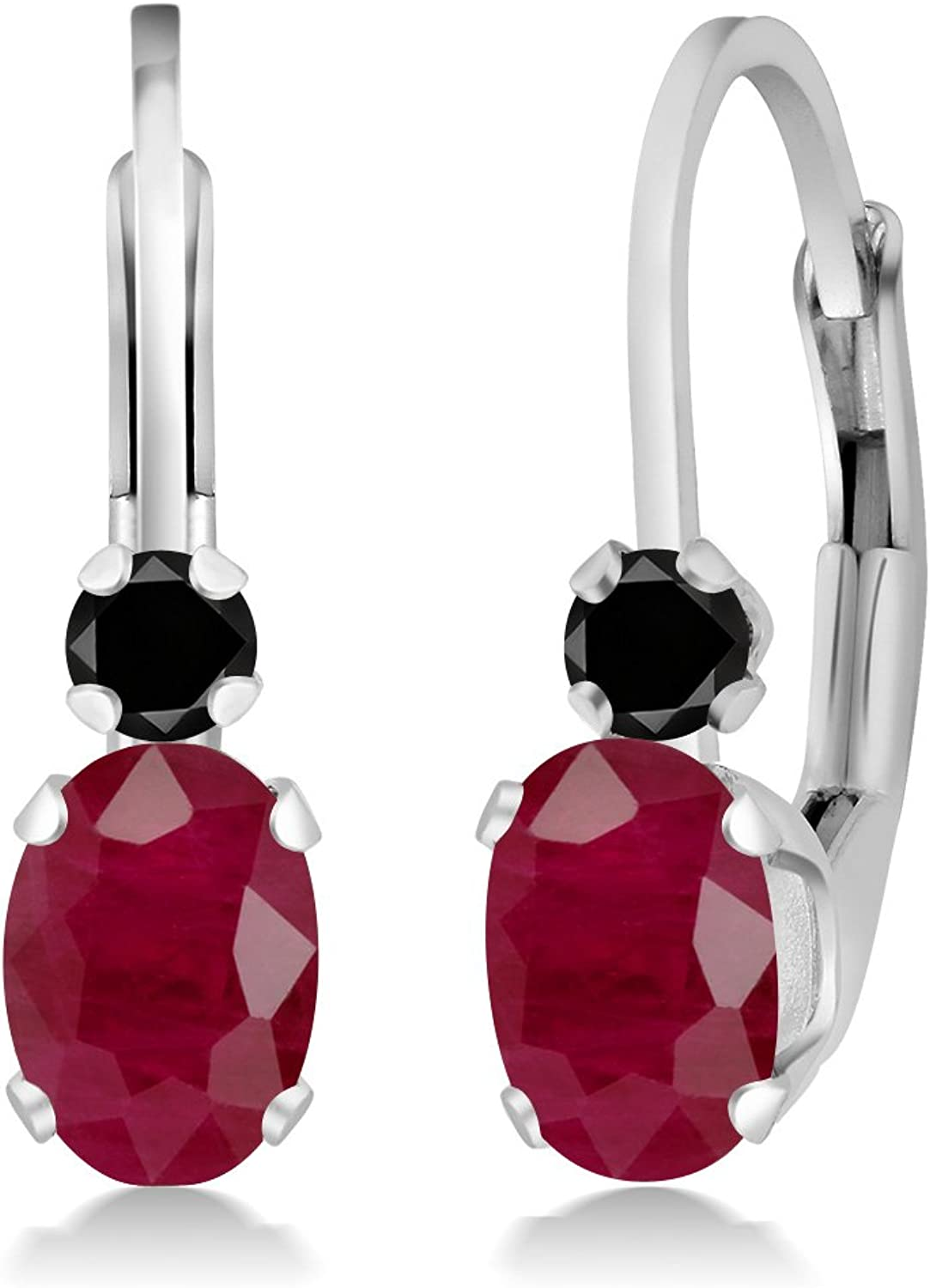 1.27 Ct Oval Red Ruby Black Diamond 925 Sterling Silver Earrings