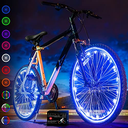 Activ Life Bike Wheel Lights (2 Tires, Blue) Best Gifts for Men for Christmas Stocking Stuffers & Birthday Gifts, Teens & Boys. Top Unique Presents for Kids 2021 Ideas for Him, Dad, Brother, Uncle