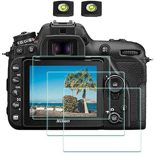 Protector de pantalla de cristal D7500 para cámara Nikon D7500 DSLR y cubierta de zapata caliente,BTER 0,3 mm dureza 9H vidrio templado antiarañazos antihuellas antiburbujas antipolvo paquete de