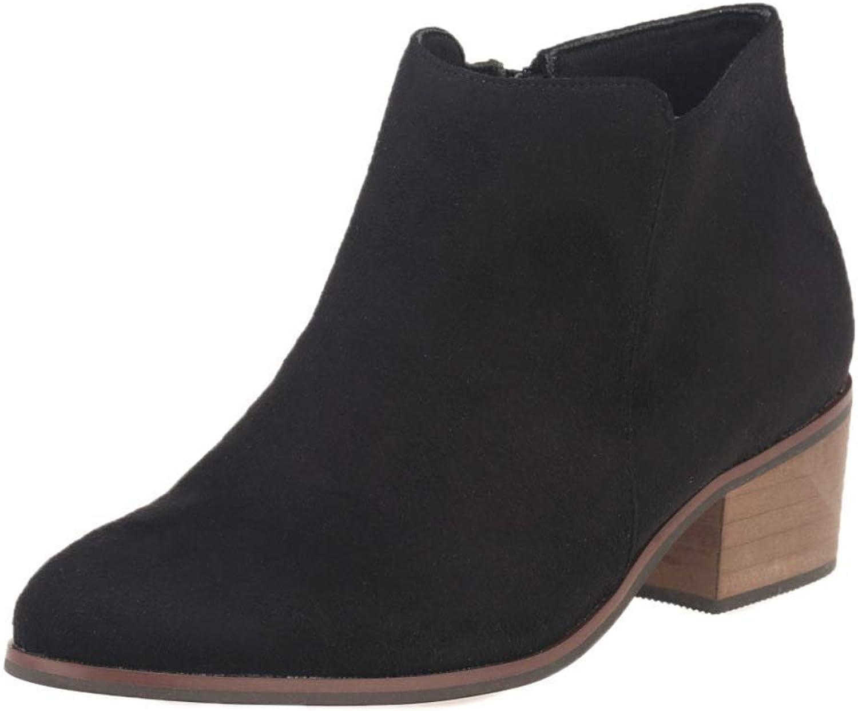 Damen Leder High-Heels Stiefeletten Retro Casual Stiefel (Farbe     2, Größe   40EU) c55
