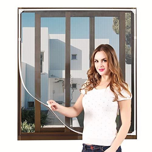 NeatiEase DIY Insektenschutz Magnetfenster,Max 100 x 130 CM,Magnet Rahmen für Fliegengitter Fenster Mückengitter,Fliegenschutz Insektenschutzgewebe Zuschneidbar(weiß Rahmen schwarz masche)