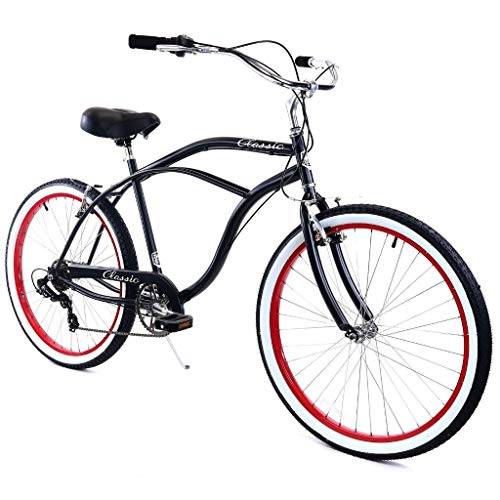 Zycle Fix Cruiser Bike (Black/Red/WhiteWall-7-Speed, 26 inch-Men