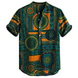 Knowin-Herren T-shirt Sommer Lässiger Baumwolle Leinen gedruckt Kurzarm Retro Afrikanischen Stil Henley Shirts Krawatte Sommer Tops Seidig Mode Weisemänner Strand Top Bluse Männer Hemd