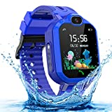 Kids Smartwatch for Boys and Girls, IP68 Waterproof GPS Smart Watch for Kids, HD Touch Screen Kids Smart Watch with Call SOS Camera Alarm, Birthday Gift for Children Aged 3-14 (Blue)