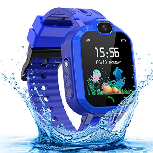 Kids Smartwatch for Boys and Girls, IP67 Waterproof GPS Smart Watch for Kids, HD Touch Screen Kids Smart Watch with Call SOS Camera Alarm, Birthday Gift for Children Aged 3-14 (Blue)