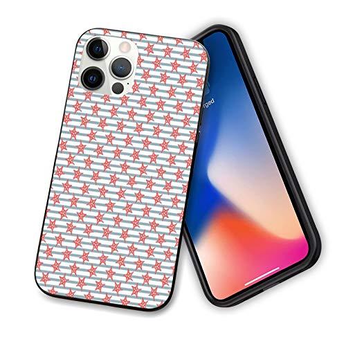 Starfish - Carcasa para iPhone 12, diseño de rayas, diseño de animales subacuáticos exóticos, a prueba de golpes, con forro antiarañazos, 6,1 pulgadas, color azul pizarra, rojo y blanco
