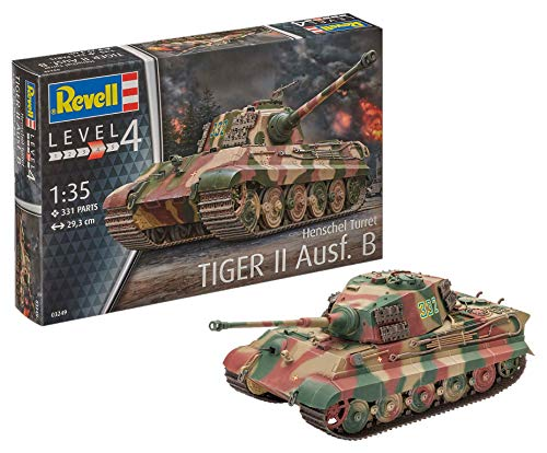 Revell 80-3249 Modellbausatz Panzer 1:35 - TigerII Ausf.B (Henschel Turret) im Maßstab 1:35, Level 4, originalgetreue Nachbildung mit vielen Details, 3249