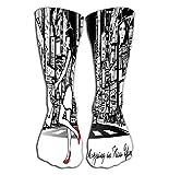 GHEDPO - Medias de tubo para mujer (50 cm), diseño de New York Night