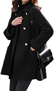 Macondoo Women Wool-Blended Double-Breasted Casual Overcoat Pea Coat