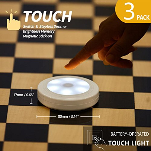 FC-Fancier Touch Light,3Packs,Touch Sensor Switch, Stepless Dimmer, Last Setting Memory, Battery Powered,Magnet Stick Anywhere,tap lights for Closet,Kitchen, Bedside,Washroom, Stairs, Daylight White