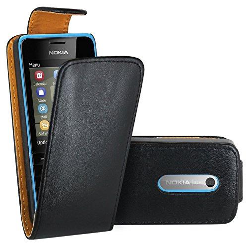 FoneExpert® Wallet Hülle Flip Cover Hüllen Etui Ledertasche Lederhülle Premium Schutzhülle für Nokia Asha 206 / Nokia Asha 206 Dual-SIM (Flip Schwarz)