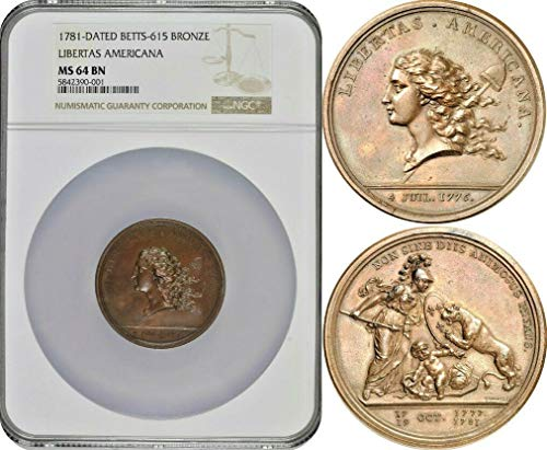 1781 FR France 1781 Libertas Americana Bronze Medal NGC M Medal MS 64 NGC