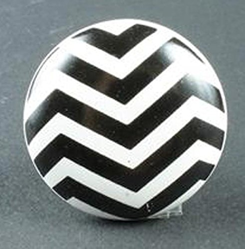 i.stHOME Retro Möbelknopf - Zickzack schwarz weiß - Knauf Porzellan Möbelgriff