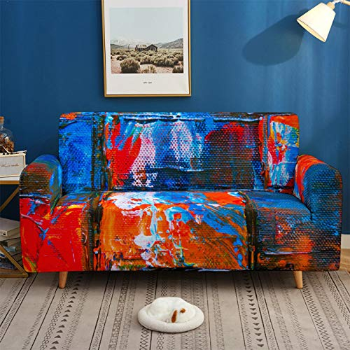 Stretch Covers For Sofa Couch Elastic Spandex Abstract Paint Printed 1/2/3/4 Seater Sofa Cover Armchair Slipcovers Furniture Protector for Children Pet,1,seat 90,140cm