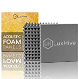 LUXHIVE Sound Proof Padding 12 Pack, Dense Odorless 0% Volatile Organic Compounds Off-Gassing Acoustic Foam, Zero Respiratory Irritation Chemical Free Lab Tested Sound Foam Outperforms Polyester Fiber