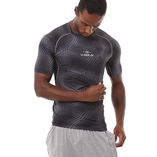 Cxypeng Herren Kompressions-Shirt Kurzarm,Basketball-Trainingslaufhose, schnell trocknende Kompressionskleidung-Grey_XL,Sportshirt Laufshirt Kurzarm