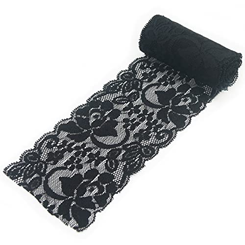 3 Inch 10 Yards Black Lace Ribbon Fabric Decorating Elastic Stretch Sewing Lace Trim for DIY Crafting