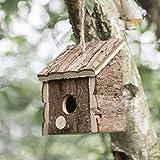 garden mile® - Casa de pájaros Colgante de Madera Natural para el jardín, Wooden Bird Hut