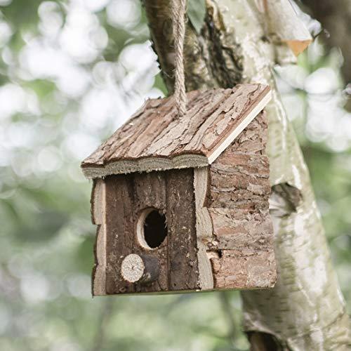 garden mile® Vogelhaus aus Holz, zum Aufhängen, für Wildvögel, Nistkasten für den Garten, Holzhütte, Vogelhütte
