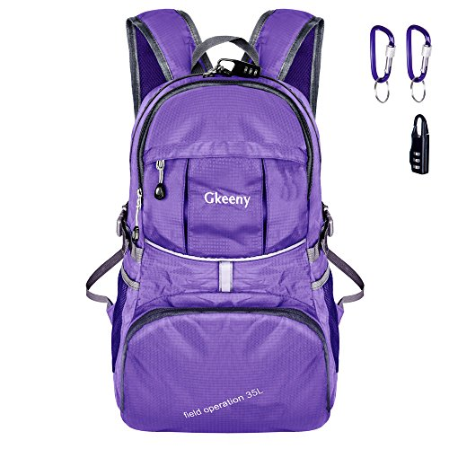 Gkeeny 35L Backpack, Lightweight Rucksack Foldable Hiking Daypack Packable Travel Day Backpack Bag for Unisex and Kids Camping Traveling Walking Cycling Climbing Jogging Day Trips (Purple)