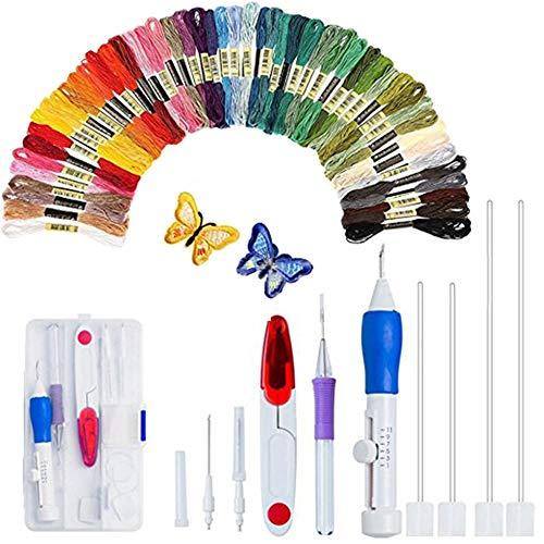 Aguja de punzón mágica para bordado, 50 hilos de colores, herramienta de manualidades para bordar, hilo de coser (AC152)