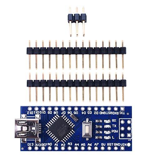 UNIROI Mini Nano V3.0 CH340G ATmega328P 5 V 16 Mt Micro Controller Board für Arduino (mit 2 STK 15pin Header, 1 STK 6pin Header) UKY64