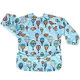 Luxja Babero Impremeable con mangas larga para bebé, Ropa Impremeable para niños pequeños (6-24 meses), globo aerostático)