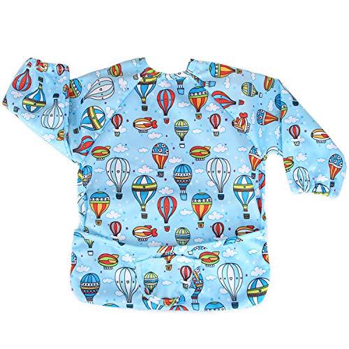 Luxja bambino bavaglino con maniche, impermeabile, a maniche lunghe, per il bambino (6-24 mesi) (mongolfiera)