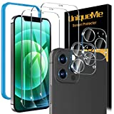 [5 Pack] UniqueMe Screen Protector Compatible with iPhone 12 Pro Max 6.7 [Not for iPhone 12 Pro], 3 Pack Clear Tempered Glass and 2 Pack Camera Lens Protector, Double Protection, [Installation Frame]