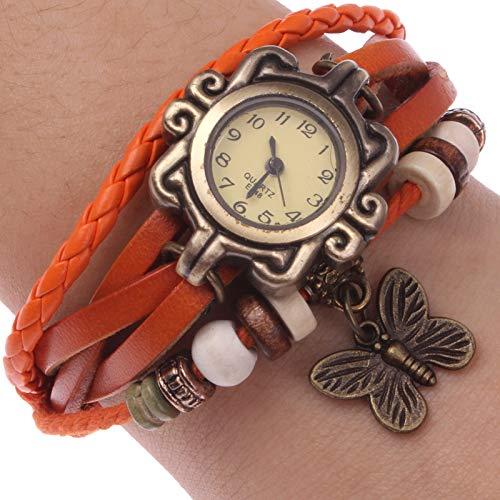 Uhren Retro-Quarz-Uhr-Armbanduhr mit PU-Lederband & Schmetterlings-Art-Anhänger (Kaffee) Asun (Color : Orange)