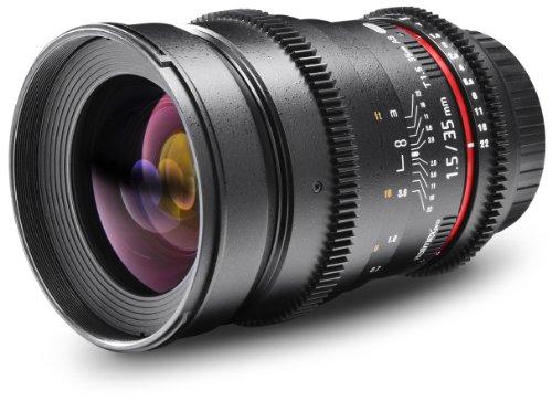 Walimex Pro 35mm 1:1,5 VDSLR Foto- und Videoobjektiv für Canon EF Objektivbajonett schwarz (manueller Fokus, für Vollformat Sensor gerechnet, IF, inkl. Schutzdeckel und Objektivbeutel)