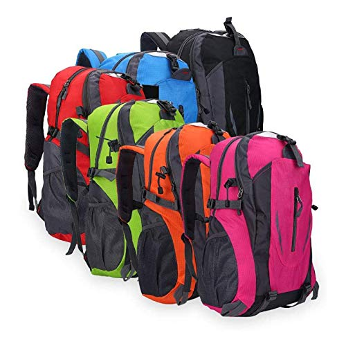 DAUERHAFT Mochila de Viaje Acampar, Mochila de Viaje de 6 Colores, Mochila Escolar Impermeable para Viajes de Negocios, para Viajes, Universidad de(Black)
