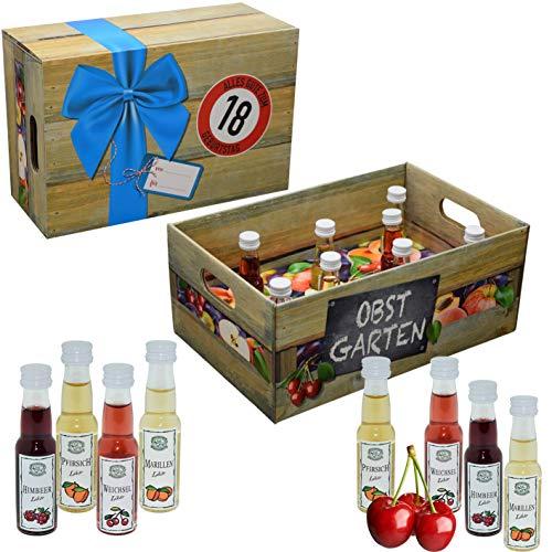 CREOFANT Obstgarten mit Geburtstagszahl 18. Geburtstag · Witzige Geschenkidee für Männer und Frauen mit Alkohol · 8 x Obst-Likör · Hochwertige Geschenkbox · Geburtstagsgeschenk für Männer