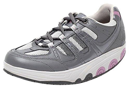 Dynamic24 AKTIV Damen Schuhe mit Spezial Rundsohle Gondelsohle Gondelschuhe Gr. 37–40 Freizeitschuhe Komfortschuhe Outdoor Walking weiß grau Silber metallic