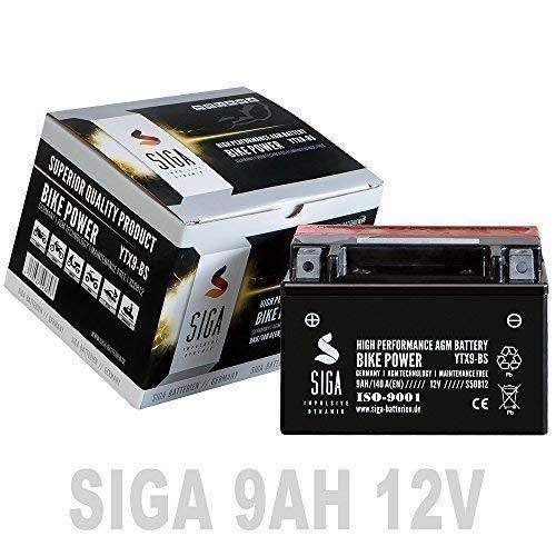 SIGA Motorradbatterie 12V 9Ah AGM Batterie YTX9-BS CTX9-BS GTX9-BS 50812