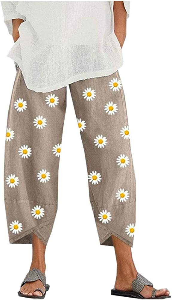 Denver Mall SCOFEEL Women's Max 54% OFF Summer Cotton Linen Trous Pants Leg Wide Cropped