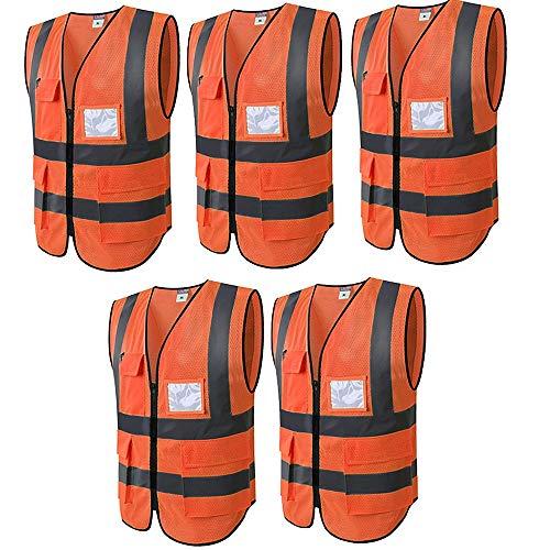 WUIO Chaleco de seguridad de alta visibilidad con bolsillos y bolsillos para identificación y blusa sin mangas con cremallera (L/XL -Amarillo/naranja) (paquete de 5)