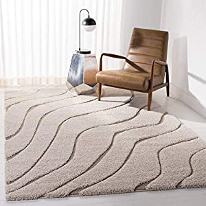 Safavieh Florida Shag Collection SG472 Abstract Wave 1.2-inch Thick Area Rug, 6′ x 9′, Cream / Beige
